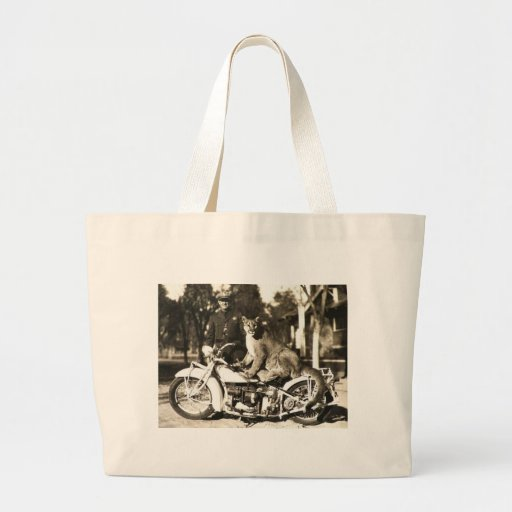 vintage photo of police officer on motorcycle puma canvas bags