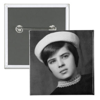 Vintage Photo of Young & Stylish Young Mod Girl 2 Inch Square Button