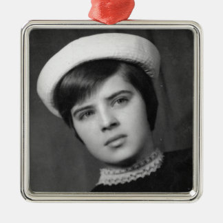 Vintage Photo of Young & Stylish Young Mod Girl Metal Ornament