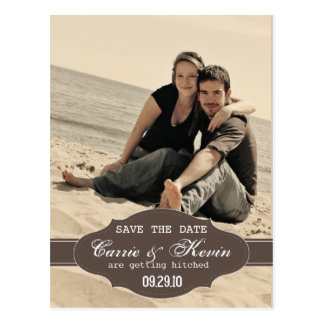 Vintage Photo Save the Date Card Template Postcard