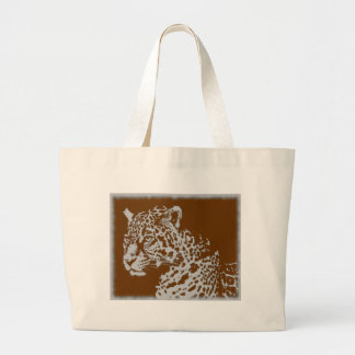 Vintage Photo Sepia Big Cat Feline Leopard Print Large Tote Bag