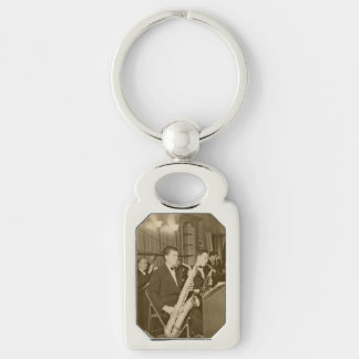Vintage Photograh Big Band Sax Silver-Colored Rectangle Keychain