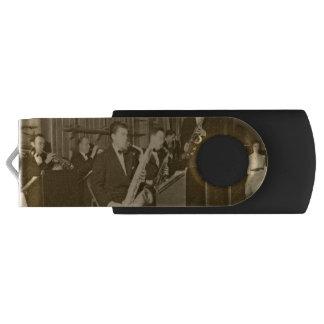 Vintage Photograh Big Band Sax Swivel USB 2.0 Flash Drive
