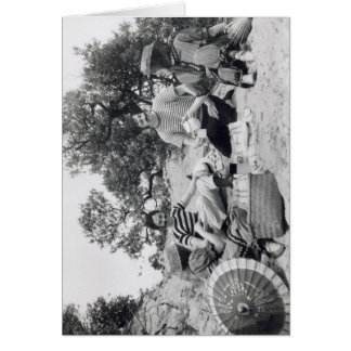 Vintage photograph Edwardian picnic on the beach Greeting Card