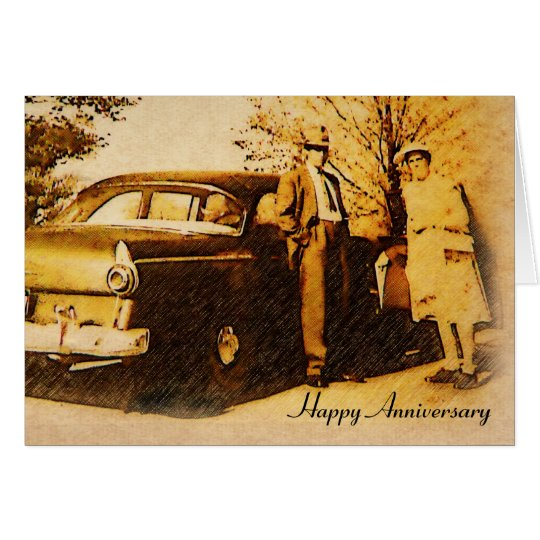 Vintage Photograph Happy Anniversary Couple Card
