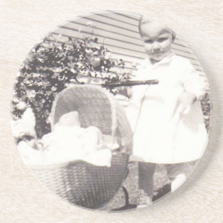 Vintage Photograph Little Girl w Baby Buggy Coaster