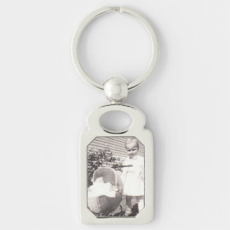 Vintage Photograph Little Girl w Baby Buggy Keychain