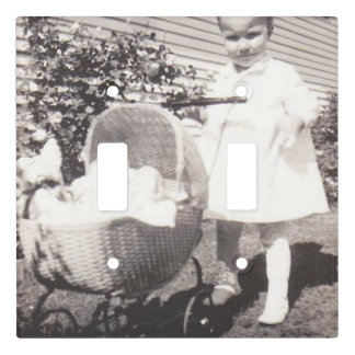 Vintage Photograph Little Girl w Baby Buggy Light Switch Cover