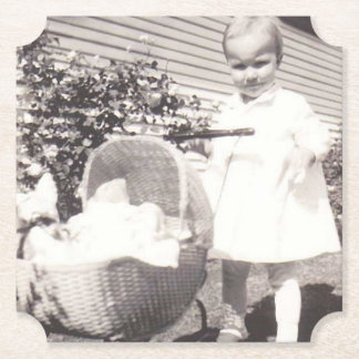Vintage Photograph Little Girl w Baby Buggy Paper Coaster
