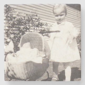 Vintage Photograph Little Girl w Baby Buggy Stone Coaster