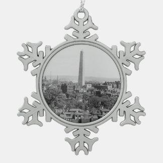 Vintage Photograph of Charlestown Massachusetts Snowflake Pewter Christmas Ornament