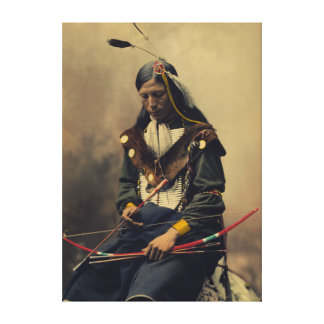 Vintage Photograph of Cherokee Man with Bow Canvas Print