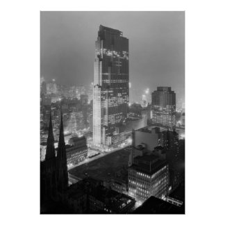 Vintage Photograph of Rockefeller Center (1933) Poster