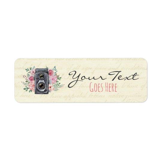 Vintage Photography Camera Rustic Floral Custom Return Address Label
