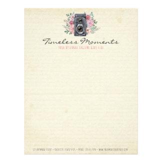 Vintage Photography Camera Rustic Rose Photograper Letterhead