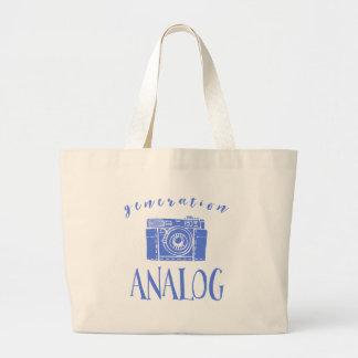 Vintage Photography Funny Generation Analog Large Tote Bag