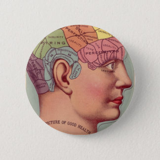 Vintage Phrenology Head 2 Inch Round Button