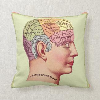 Vintage Phrenology Head Pillow