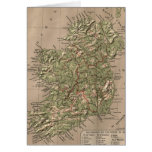 Vintage Physical Map of Ireland (1880) Greeting Card