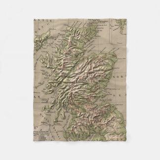 Vintage Physical Map of Scotland (1880) Fleece Blanket