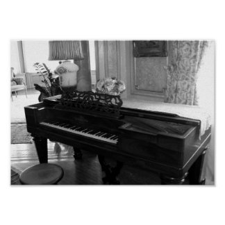 Vintage Piano Black & White Photograph Poster