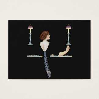 Vintage Piano Girl Gift Tag Business Card