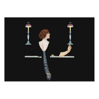 Vintage Piano Girl Gift Tag Large Business Card