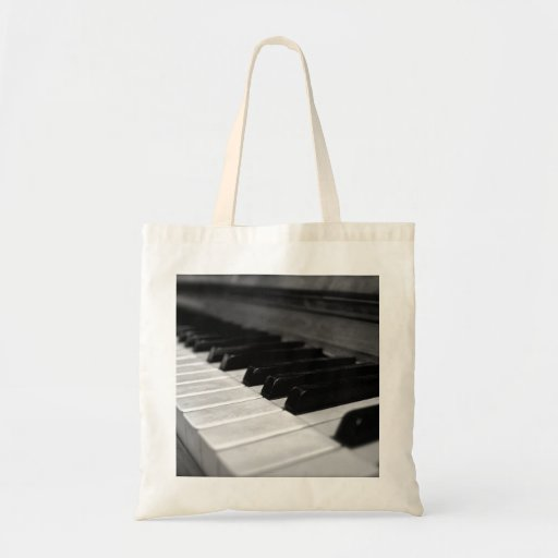 Vintage Piano Keys; Black and White Canvas Bag