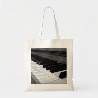 Vintage Piano Keys; Black and White Budget Tote Bag