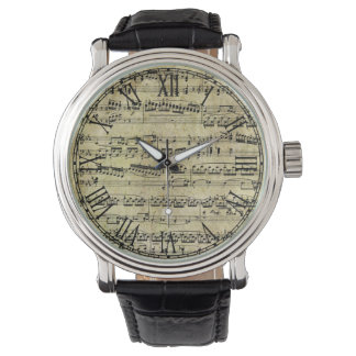 Vintage Piano Sheet Music Notes Wristwatches