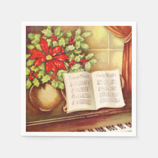 Vintage Piano, Silent Night Pointsettia Christmas Napkin