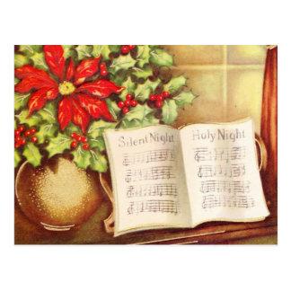 Vintage Piano, Silent Night Pointsettia Christmas Postcard
