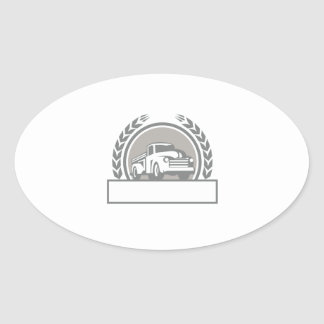 Vintage Pick Up Truck Circle Retro Oval Sticker