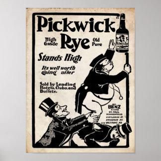 Vintage Pickwick Rye Old Liqour Print