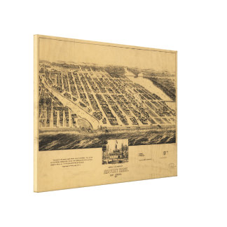 Vintage Pictorial Map of Asbury Park NJ (1881) Canvas Print