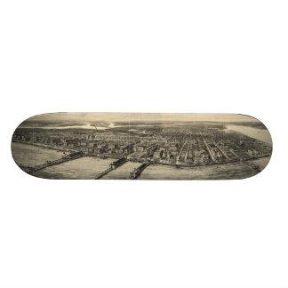 Vintage Pictorial Map of Atlantic City (1909) Skate Board Deck