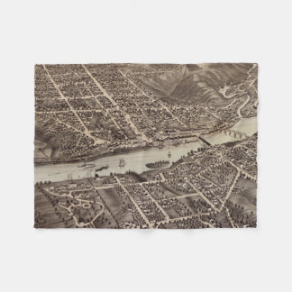 Vintage Pictorial Map of Augusta Maine (1878) Fleece Blanket