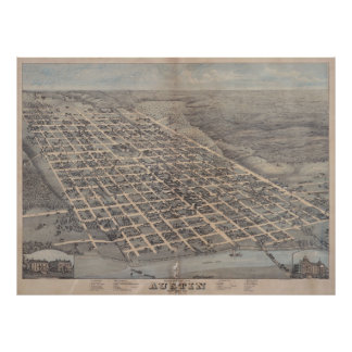 Vintage Pictorial Map of Austin Texas (1873) Poster
