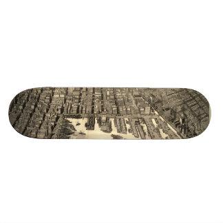 Vintage Pictorial Map of Baltimore (1912) Skateboard Deck