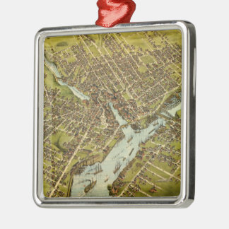 Vintage Pictorial Map of Bangor Maine (1875) Metal Ornament