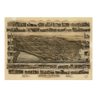 Vintage Pictorial Map of Bristol RI (1891) Poster