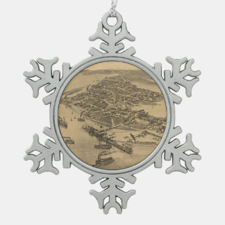 Vintage Pictorial Map of Cedar Key FL (1884) Pewter Snowflake Ornament