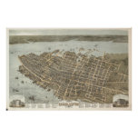 Vintage Pictorial Map of Charleston (1872) Poster
