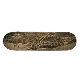 Vintage Pictorial Map of Chicago (1871) Skate Board