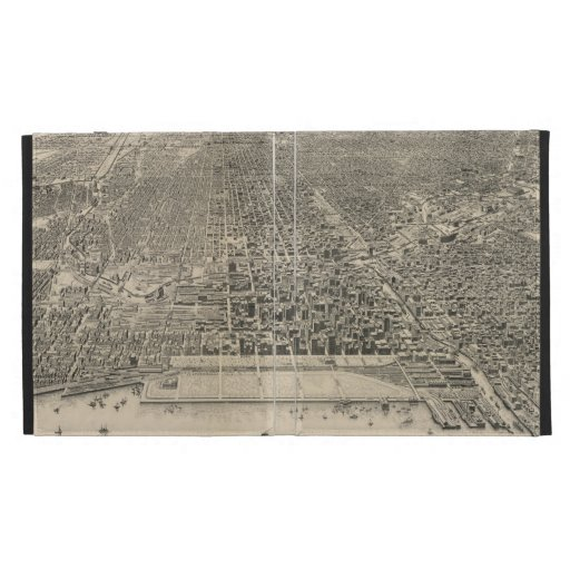 Vintage Pictorial Map of Chicago (1916) iPad Folio Covers