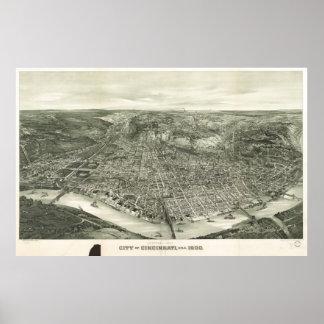 Vintage Pictorial Map of Cincinnati (1900) Poster