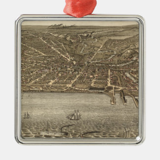 Vintage Pictorial Map of Cleveland (1877) Silver-Colored Square Ornament