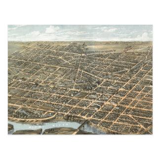 Vintage Pictorial Map of Dayton Ohio (1870) Postcard