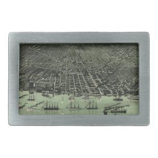 Vintage Pictorial Map of Detroit Michigan (1889) Belt Buckles