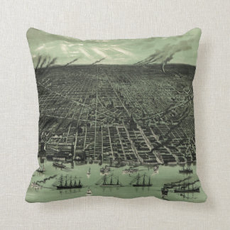 Vintage Pictorial Map of Detroit Michigan (1889) Throw Pillow